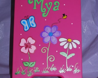 Kids Clipboard Storage Case - Flowers Butterfly Bee - Hand Painted and Personalized