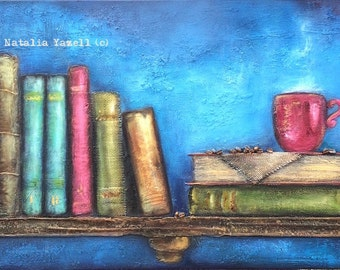 """Good Old Books, 18""""x36"""" Original Mixed Media Art, reading books, coffee, textured art, 3d painting, antique style, blue / brown / red, cup"""