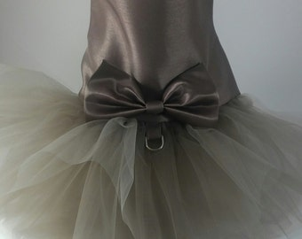 Taupe Dog Wedding Dress, Latte  Dog Wedding Dress, Dog Blush Pink Wedding Tutu Dress -  Bridesmaid Dog Dress Ivory Tutu, bridal dog Dress