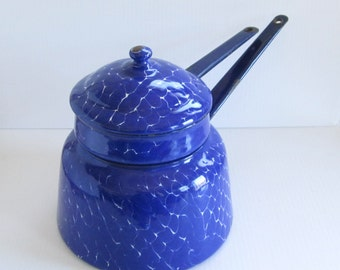Antique Chickenwire Blue Enamelware Graniteware Double Boiler