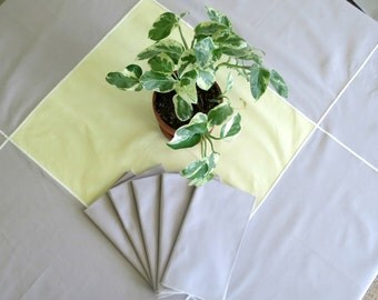 Vintage Tablecloth w Matching Napkins, 52 x 48, Pale Yellow and Grey, Sturdy Cotton Blend, Vintage Linens