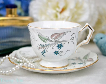 Aynsley Embossed Teacup and Saucer Set, English Bone China Tea Cup and Saucer, Replacement China, ca. 1952-
