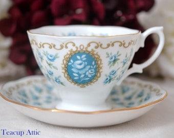 ON SALE Royal Albert Teacup and Saucer Cameo Series TREASURE, English Bone China Tea Cup And Saucer, Garden Tea Party,  ca. 1969-1974