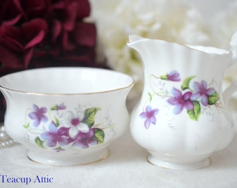 Royal Albert Cream And Sugar Set With Purple Violets, English Bone China Cream And Sugar Set, Afternoon Tea Party, ca 1970