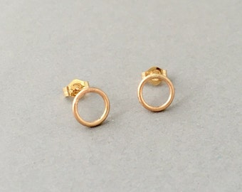 Circle Hoop Stud Post Earrings Gold Fill or Sterling Silver