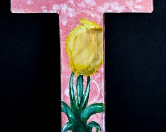 "8 inch paper mache letter ""T"" tulip.  One of a kind painting in acrylic paint"