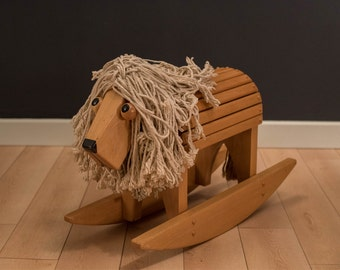 Mid Century Vintage Lion Rocker Toy