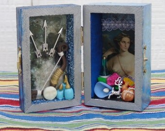 Diana Box Shrine. Miniature Nicho.  Travel Altar. Shadow Box. Artemis. Shadow Box. Mixed Media Altered Art.
