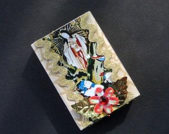 Amaterasu Small Decorated Matchbox.  Altered Matchbox.