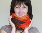SALE Women infinity scarf - Cobweb felted wool Circle scarf - necklace / red orange brown