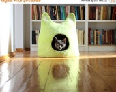 SALE Ready to ship - cat bed - gift for pets - lime green cat bed - size XXL