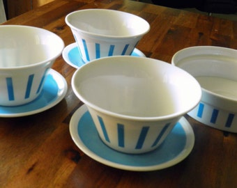 20% Off--1960's LaGardo Tackett/Schmid 7-Pc. Serving Set--Part of His Iconic Ice Cream & Candy Service--3 Bowls/Saucers, Shallow Bowl