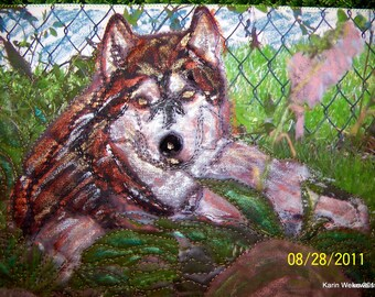 Small Art Quilt Wall Hanging:  Lounging Husky