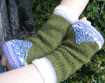 Arm warmers - Fingerless gloves - knitted Irish wool - Celtic design -green - purple -cream- made in Ireland