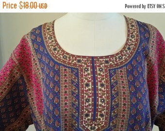 3 day Storewide 25% OFF Price Reduced! LARGE SIZE  vintage slip over ethnic Indian East Asian paisley floral top blouse