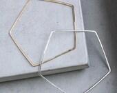 Pentagon Bangle, handmade pentagon bracelet, modern geometric jewelry