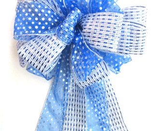 Christmas Bow / Tree Topper Bow / Christmas Tree Topper Bow / Christmas Tree Bow / Blue Bow / Silver Bow