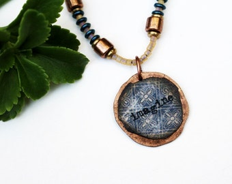 Imagine Mixed Media Necklace, Mixed Media Jewelry, Indigo Blue Pendant Necklace, Recycled Repurposed, Bohemian, Seed Bead, Inspirational