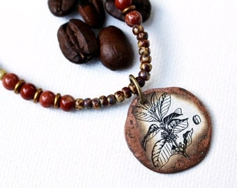 Brown Bead Necklace Coffee Mixed Media Pendant Necklace Beaded Jewelry Recycled Repurposed Coffee Lover Botanical Jewelry Seed Bead