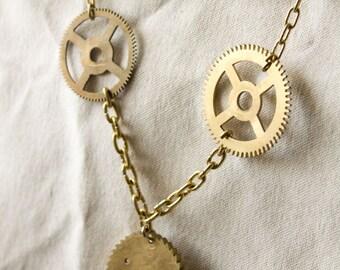Long Chain Necklace // Clock Gear & Wheel