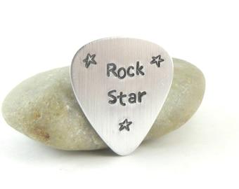 Rock Star Guitar Pick, Metal Stamped Aluminum Guitar Pick, Metal Pick, Gift for Him, Guitarist, Gift Under 15, Gift for Musician