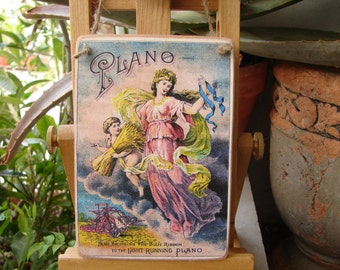 vintage publishing, advertisng sign, beautiful lady & cherub image sealed onto wooden tag, dresser, door hanger