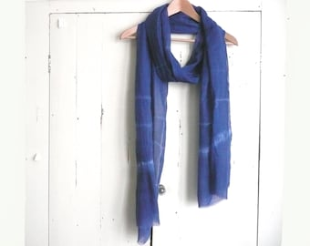 Indigo blue cotton scarf - hand dyed cotton scarf - blue and white cotton scarf - tie dyed cotton scarf