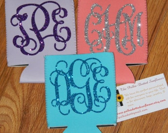 Glittery Monogrammed Can Coolers - Can Huggers - Monogrammed Neoprene Can Holders