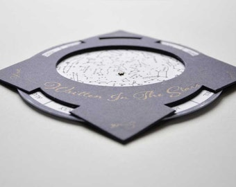 Celestial Letterpress Wedding Favors Set of 25 Written in the Stars Invite Save the Date