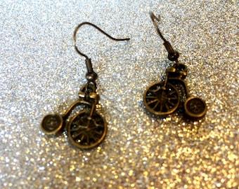 Steampunk Penny Farthing Earrings by JulieDeeleyJewellery on Etsy