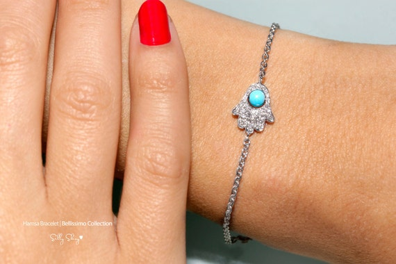 "Hamsa Diamond Bracelet - ""Hamsa"" / ""Hand"" Turquoise & Diamonds Hamsa Bracelet 14K gold."