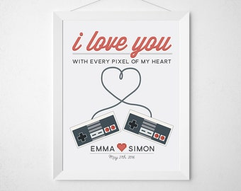 Gamer Wedding Print - Custom personalized art for couples - Gaming geek video game controllers - newlywed engagement anniversary gift pixel
