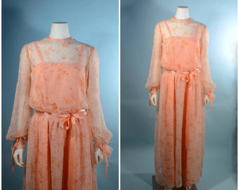 "VTG 70s Boho Peach Floral Goddess Maxi Dress/ Gypsy Hippie Sheer Floral Wedding Dress/ Music Festival Concert Fair Dress 27 "" Waist M"
