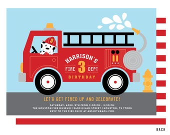 Fire Truck Invitation, Fire Truck Birthday Party Invitations, Firetruck and Dalmatian Invite, Fireman invitation