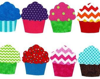 8 Cupcakes iron on applique DIY
