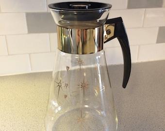 Vintage 1950s Corning Mid Century Modern Coffee Carafe, Gold Starburst Design