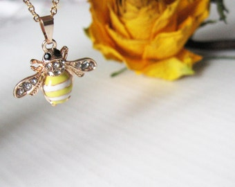 Honey bee necklace Miniature golden necklace Yellow bee Woodland creature Rhinestones pendant Dainty design Small animal