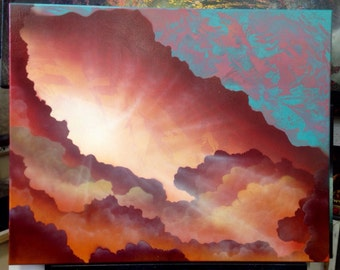 "Sunrise clouds - 24"" X 30"" Spray Paint on Canvas by Markus Fussell"