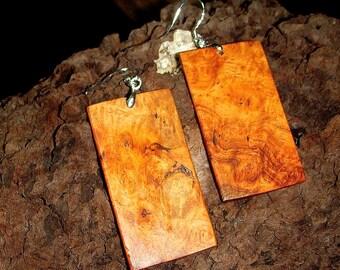 Amboyna Burl Earrings w/ Silver Hooks - Gift for Mom - Dangle Earrings - Wooden Earrings - Unisex