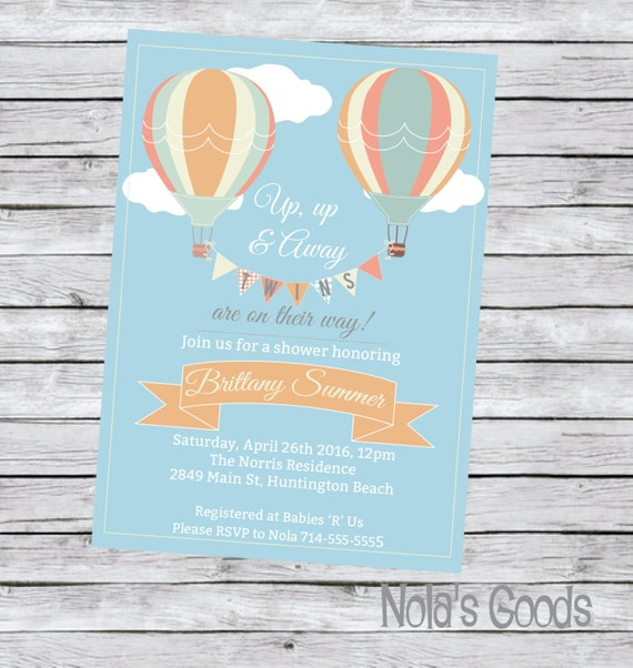 twin baby shower invitation hot air balloon thank by nolasgoods