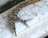 Antique Victorian Diamond Bird Necklace/Brooch in Gold and Silver.