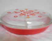 Vintage Pyrex Divided Casserole Dish and Lid, Friendship Red Pattern 1 1/2 Quart Size