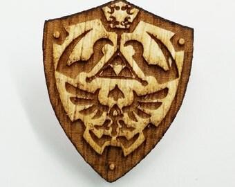 Zelda Links Shield Pin | Laser Cut Jewelry | Wood Accessories