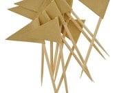 Mini Kraft Flags on Picks - .75 x 1.25 Paper Flags Set of 12 - Decorate Cupcakes, Scrapbooks, Handmade Cards - by Lucky Dip