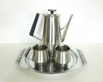 Vintage Coffee Serving Set International Stainless Deluxe Holloware Danish Modern Wave Pattern
