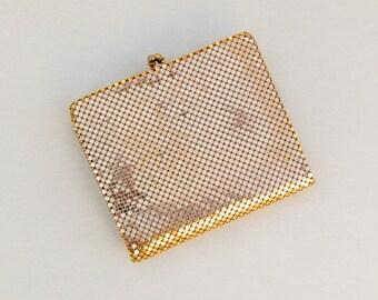 Vintage gold mesh wallet made in Belgium, gold mesh billfold for evening wear
