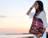 NEW tribal design tote bag, turkish kilim chenille fabric, medium size shopper, istanbul geometric textile, aztec, navajo.  Ready to ship
