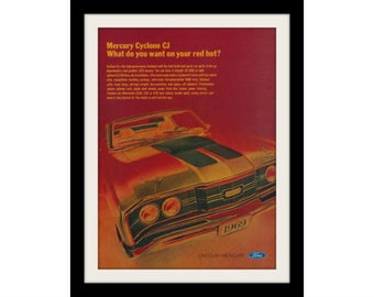 """1969 Ford Mercury Cyclone CJ Muscle Car Ad """"Red Hot"""" Vintage Advertisement Print"""