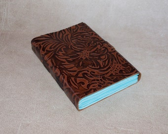 Leather journal floral embossed notebook diary brown flowers