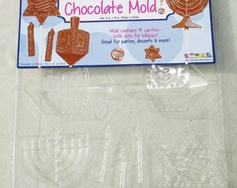 Chanukah Chocolate Mold - Slots for Lollipops - 14 Cavities